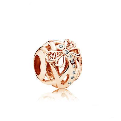 European Rose gold 1pcs butterfly CZ charms Beads Fit 925 Necklace Bracelet B225