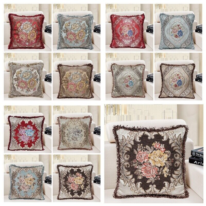Brocade Vintage Jacquard Floral Throw PILLOW COVER Bed Sofa