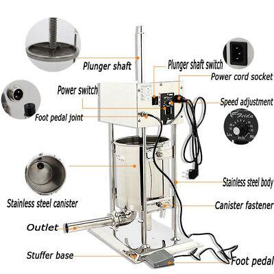 110v Commercial Electric Sausage Stuffer Meat Filler Maker Making Machine 15l
