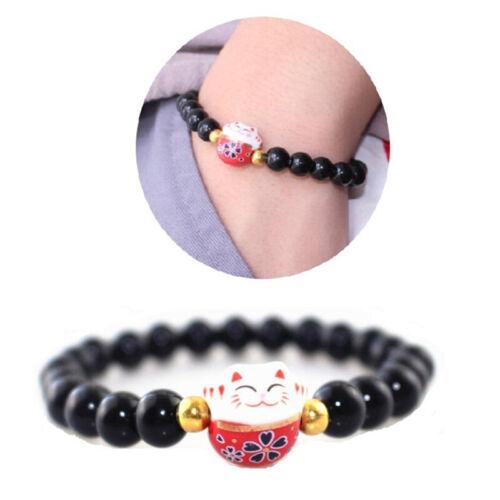 Fengshui Lucky Cat Maneki Neko Obsidian Bead Fortune Good Luck Wealth Bracelet ♫