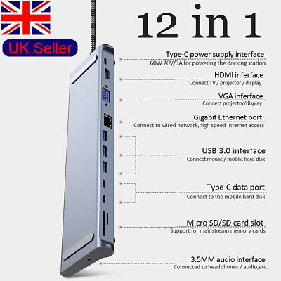 12 in1 Type C Hub Docking Station to USB 3.0 HDMI Adapter for Macbook ASUS DELL
