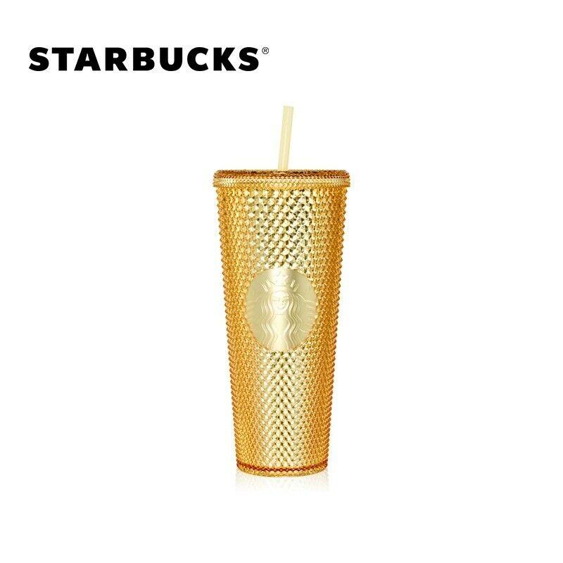 PSL Starbucks 2020 China 24oz Gold Shinning Diamond Studded Tumbler STRAW CUP
