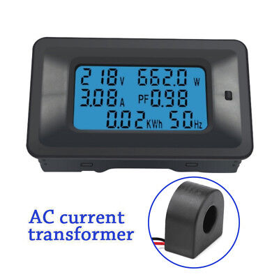 100a Ac Lcd Digital Panel Power Watt Meter Monitor Voltage Voltmeter Ammeter New