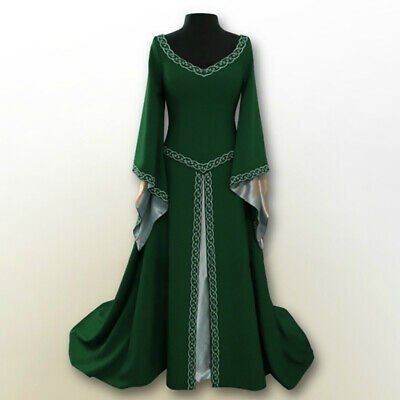 Women Long Sleeve Medieval Renaissance Long Full Dress Cosplay Costume Plus Size