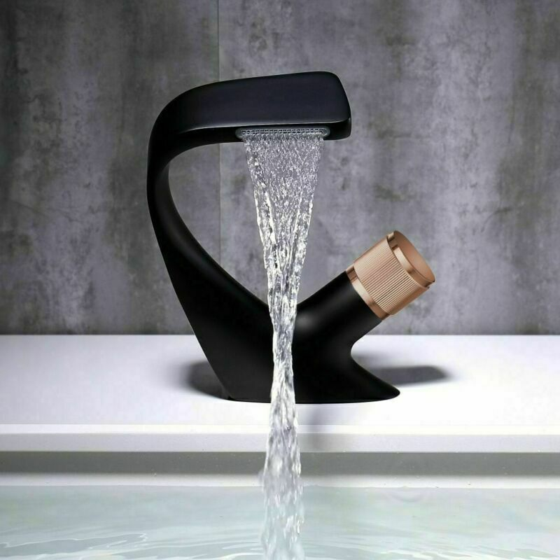 Matte Black Bathroom Sink Faucet 1 Handle Waterfall Vanity Basin Mixer Bathroom