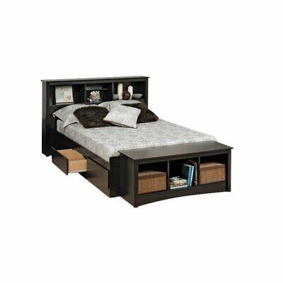 BOWERY HILL Twin XL Bookcase Platform Storage Bed