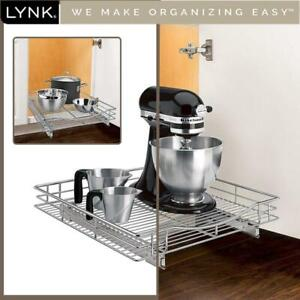NEW Lynk Professional Roll Out Cabinet Organizer - Pull Out Under Cabinet Sliding Shelf - 20 inch wide x 21 inch deep...