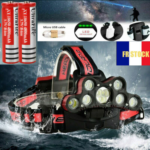 FR 250000LM T6 LED USB Rechargeable lampe frontale Headlight torche + 2 * 18650