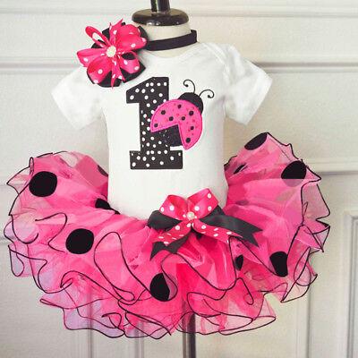 1st Birthday Baby Girl Dress Outfits Dots Romper Tutu Headband Sets 12 Months
