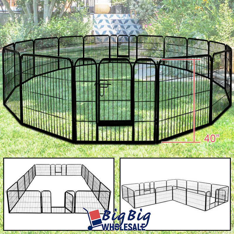 "40"" Tall Folding 16-Panel Heavy Duty Metal Dog Playpen Exercise Fence Kennel"