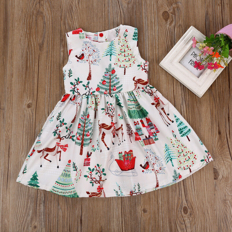 US Toddler Kids Baby Girl Christmas Cartoon Deer Sleeveless Party Dress Clothes