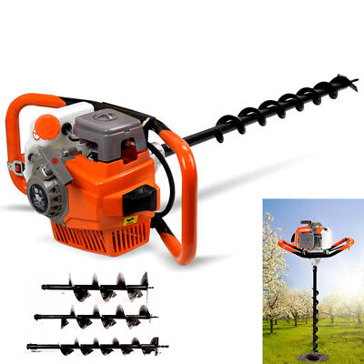 71cc Auger Post Hole Digger Gas Powered Borer Fence Ground Drill4 6 8 Bits