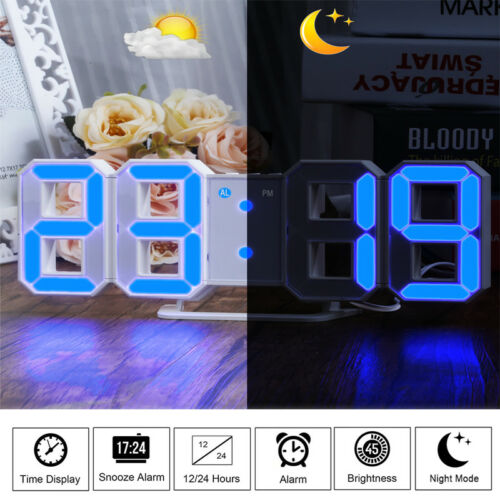 LED Digit Large 3D Display Alarm Clock USB DC Power Desk Table Wall Snooze Timer