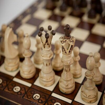 Hand Carved Chess Pieces - Large Wooden Chess 21 Inch Full Set Vintage Game Gifts Hand Carved Board Pieces