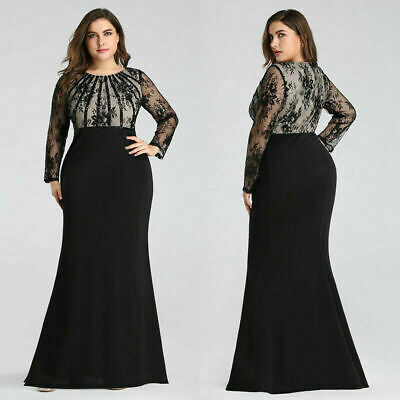 Ever-Pretty US Plus Size Long Sleeve Mermaid Evening Long Dress Prom Gowns 07771](Plus Size 20s Dress)