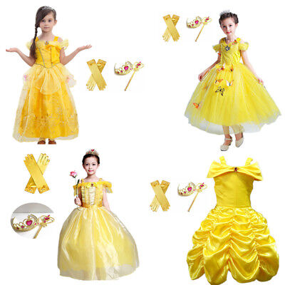 Beauty and the Beast Belle Princess Dress Kids Girl Halloween Cosplay Costume
