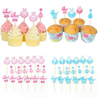 Baby Shower Cupcake Toppers Boy Girl Favors Party Birthday Cake Card Decor NEW