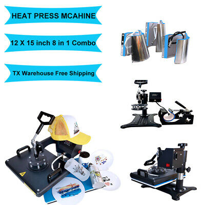 8 In1 Combo Heat Press Machine Digital Transfer Printing T-shirt Hat Mug 12x15