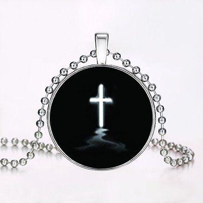 Glow In The Dark Cross (Cross Charm Luminous Glow In The Dark Pendant Chain Steampunk Halloween)