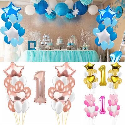 Baby Ein Jahr alt Folienballons Junge Mädchen Ballon Party Happy Geburtstag Prop ()