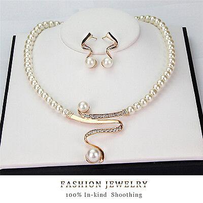New Women Bridal Wedding Party Pearl Rhinestone Necklace Earrings Jewelry G0HWC
