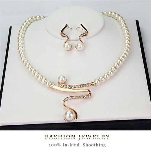 Jewellery - New Women Bridal Wedding Party Pearl Rhinestone Necklace Earrings Jewelry -SALE