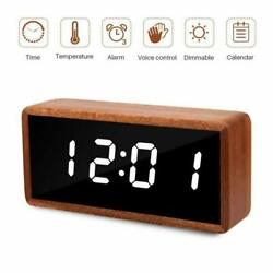 Digital Alarm Clock,Solid Wood LED Desk AlarmClock w/ Large Display USB Charging