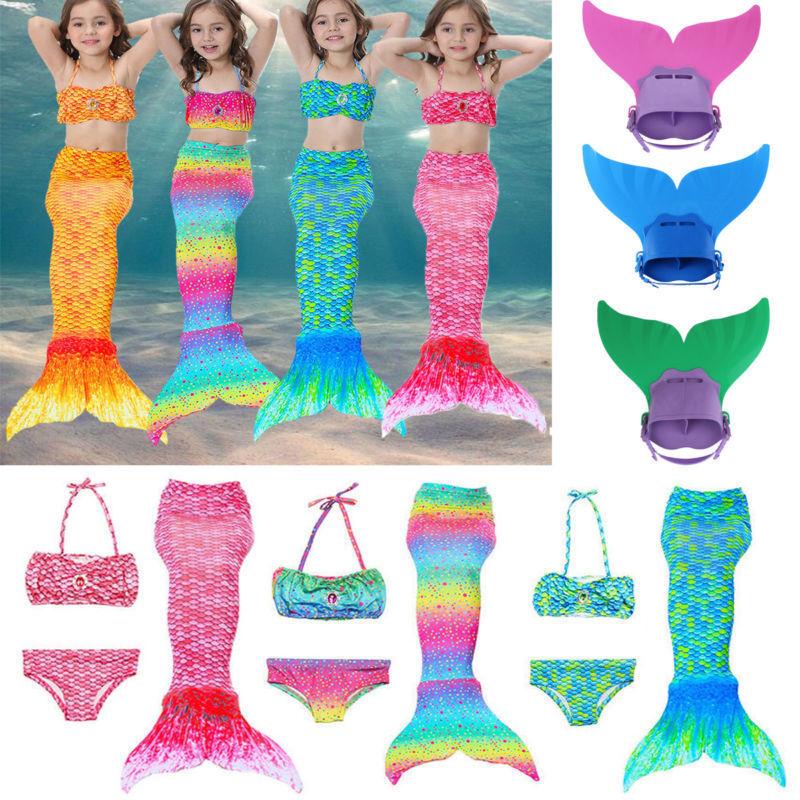 Kinderbikini Mädchen Meerjungfrau Schwanz Schwimmen Badeanzug Monoflosse Flossen