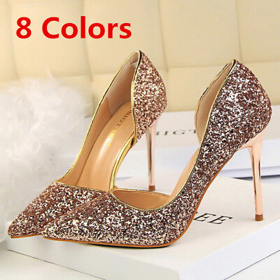Women Classic Pumps Bling Stilettos Slip On High Heel Wedding Party Ladies Shoes (Bling Wedding Shoes)