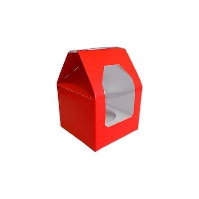 Valentine Christmas Red Single Cupcake box & insert with window 12 pack ()