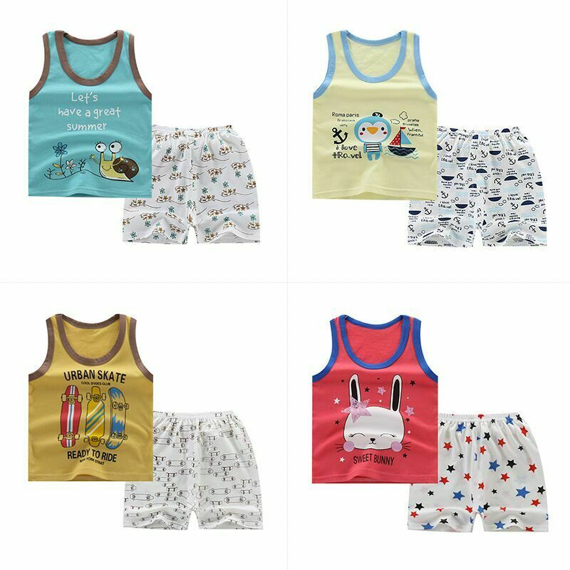 Todlers Baby Boys Girls Soft Tank Tops+Shorts Set Summer Casual Clothing Outfits