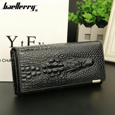 US Women Long Black Genuine Leather Crocodile Wallet Money Card Holder Handbag Money Long Wallet