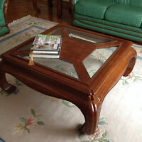2 beautiful wood and glass coffee tables  -  Urgent Must Sell!!