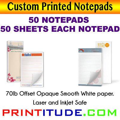 CUSTOM PRINT NOTEPADS 3X8 (50 PADS-50 SHEETS EA) 70LB Opaque Print PERSONALIZED Custom 50 Sheet Notepads