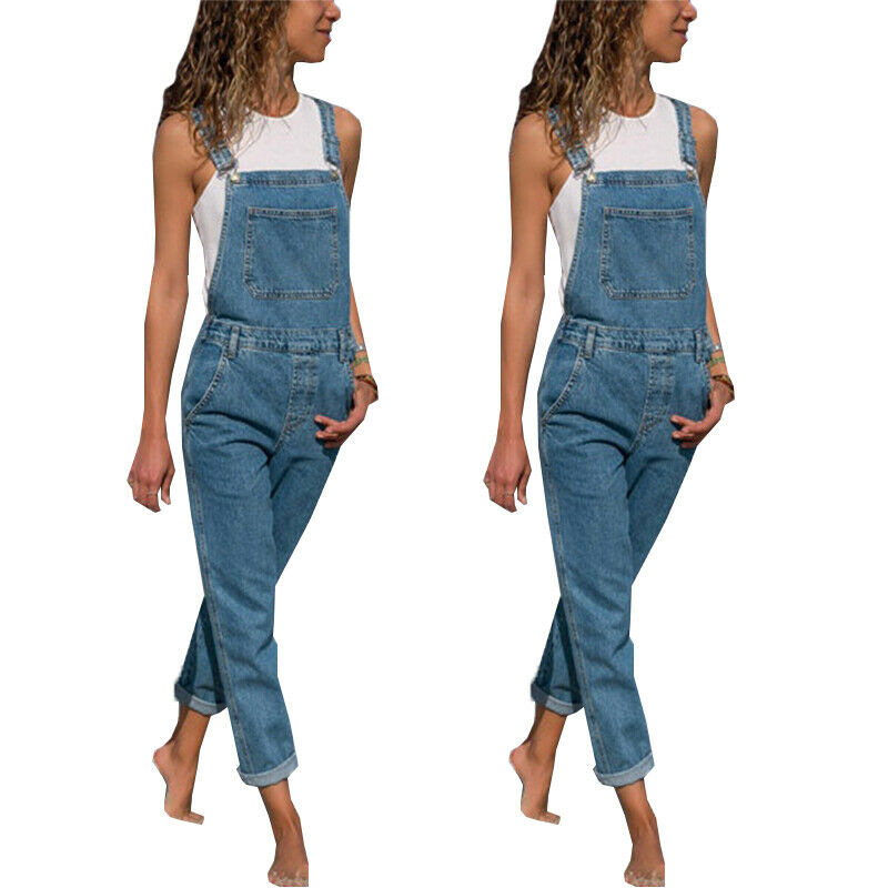 Denim Bib Overalls for Women Sleeveless Baggy Bib Romper Loose Casual Jumpsuit with Pockets