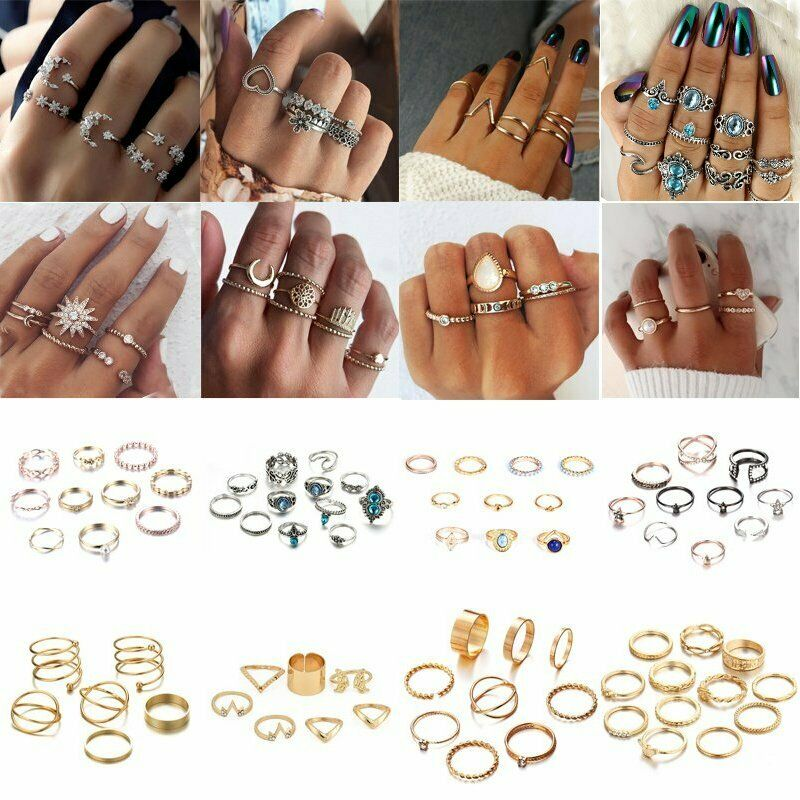 47813339181 Hot Women Lady Boho Vintage Punk Knuckle Finger Midi Rings Set ...