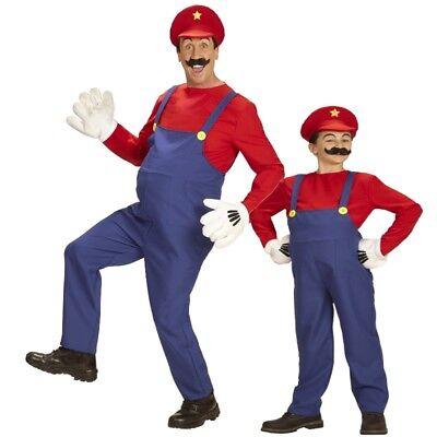 Super Mario Bros. KLEMPNER Handwerker Kostüm für Kinder und Herren Gr. 116 - (Super Mario Kostüm)