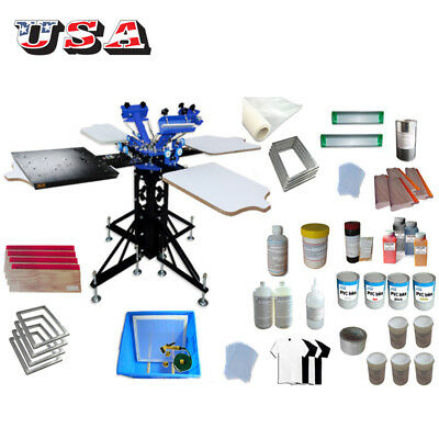 3 Color 4 Station Screen Printing Kit With Flash Dryer Press Materials Ink