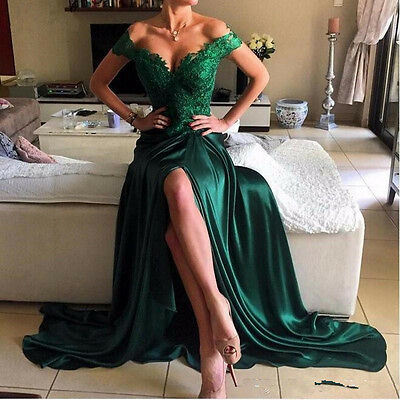 Sexy Off Shoulder Emerald Green Evening Dresses Split Formal Prom Party Gowns