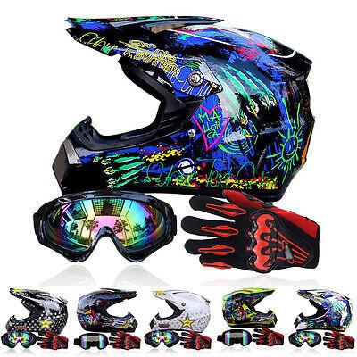 Gloves + Men Helmet + Goggles +Racing Helmet Dirt Bike ATV Gear Motocross DOT