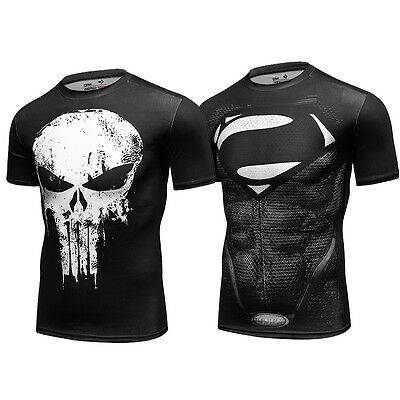 Men's Workout Compression T-Shirt Summer Casual Tee Cycling Jersey Top Halloween