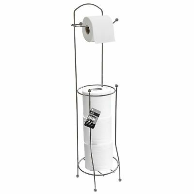 Free Stand 4 Toilet Roll Paper Tissue Holder Dispenser Chrome Bathroom Storage