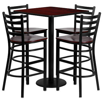 Restaurant Table Chairs 30 Mahogany Laminate With 4 Ladder Metal Bar Stools