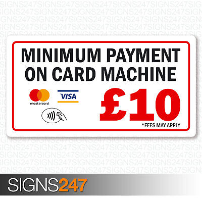 Minimum Payment £10 Sticker Mastercard Visa Contactless Printed Vinyl 130x70mm