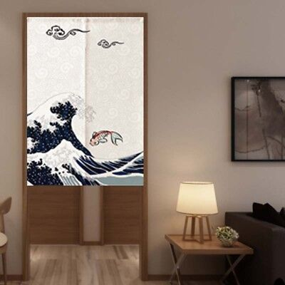 2-Panel Japanese Noren Gate Curtain Cotton Linen Koi Ukiyoe Wave Retro (Noren Koi)