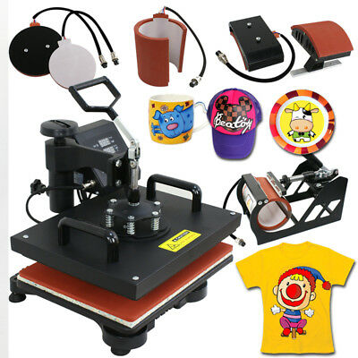 5in1 Digital Heat Press Machine Sublimation T-shirt Mug Plate Hat Printer 15x12
