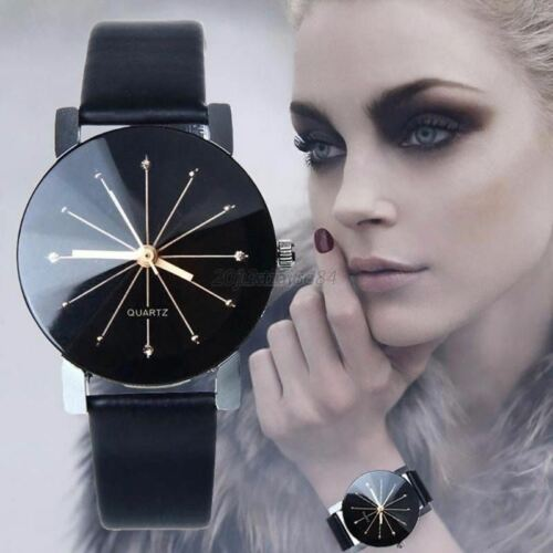Fashion Womens Mens Stainless Steel Leather Band Quartz Analog Sport Wrist Watch Jewelry & Watches