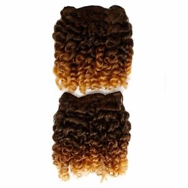 """Rod Curl Afro Hair Extensions Weave On Weft - 14"""" Inch - Light Brown and Auburn"""