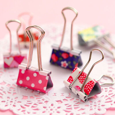 Mini Cute Kawaii Metal Holder Paper Clips Office Accessories Clip Binder Clamps