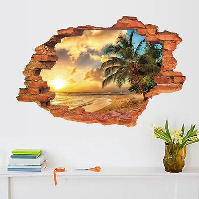 Wandtattoo Wandaufkleber Fenster Strand Sonne Meer Wohnzimmer Schlafzimmer 3D